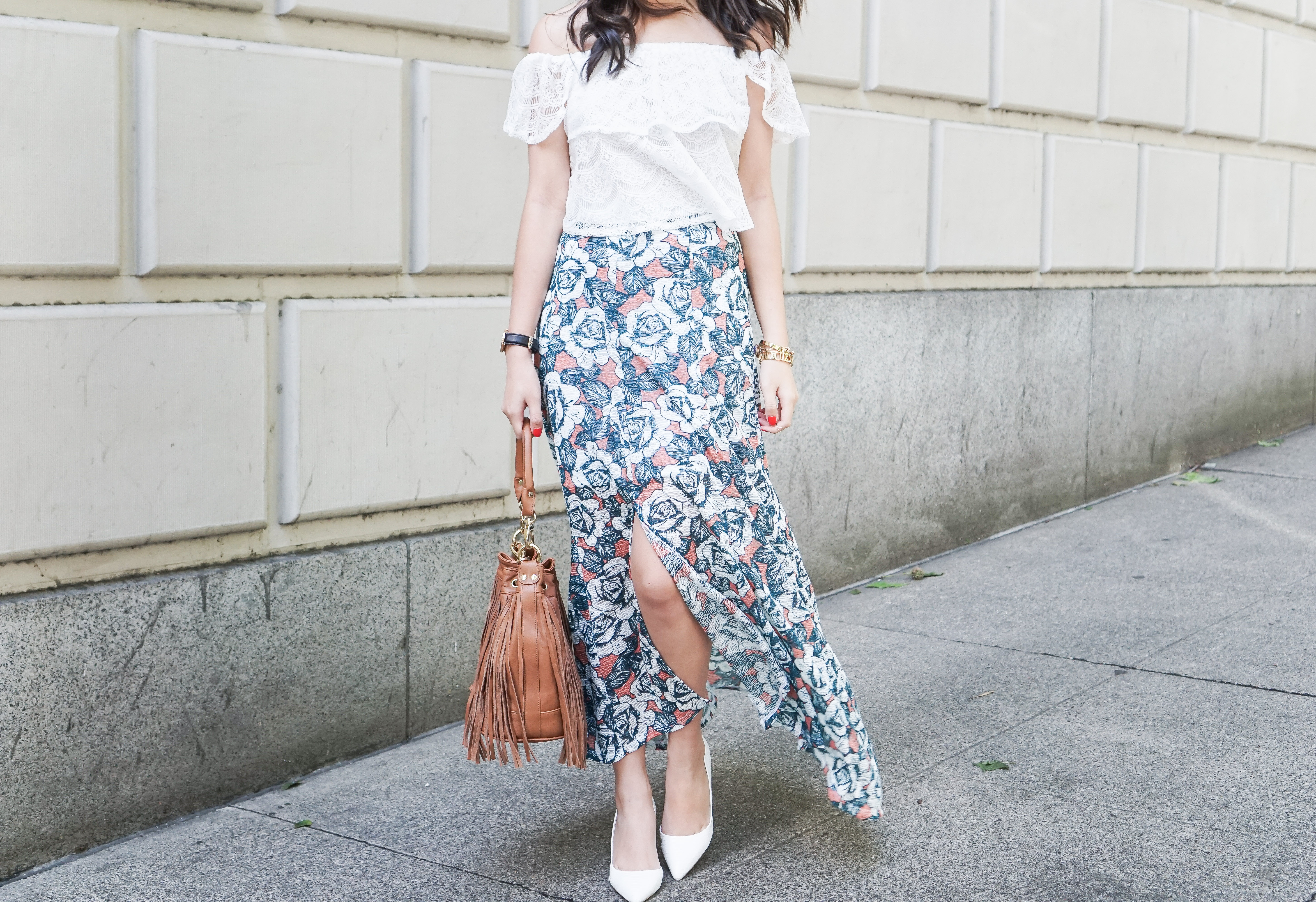 topshop floral print split front maxi skirt, missguided crochet lace off the shoulder top, nyc pietro fringe bag, summer outfit