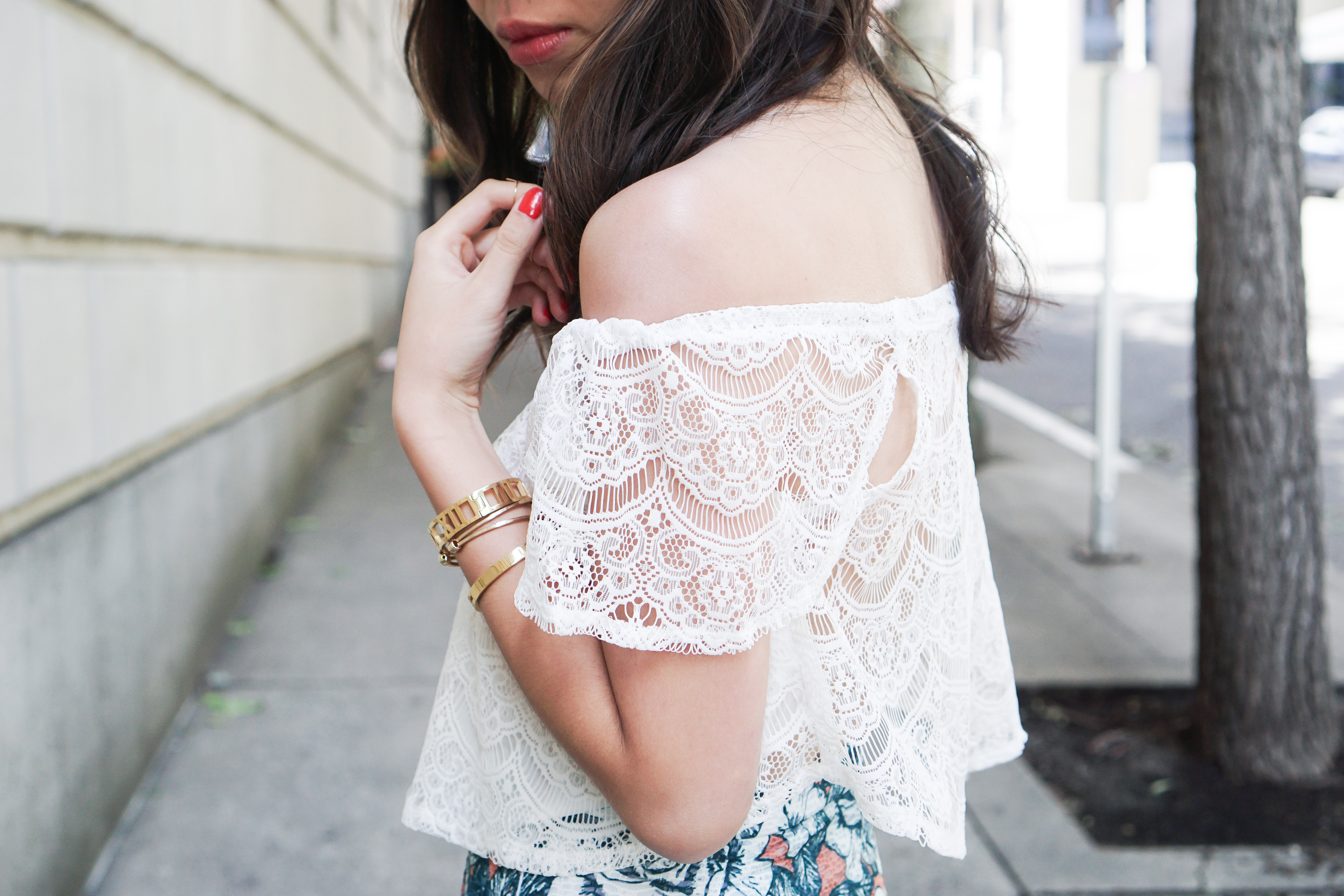 missguided crochet lace off the shoulder top
