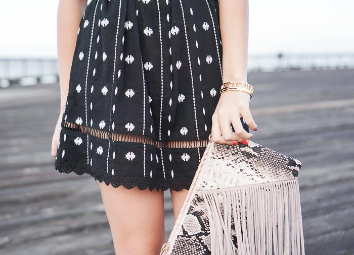 topshop embroidered off the shoulder dress, fringe bag