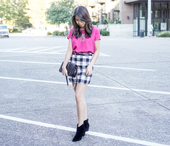 treasure bond plaid skirt, wayf pink top, sole society romy bootie, fall outfit