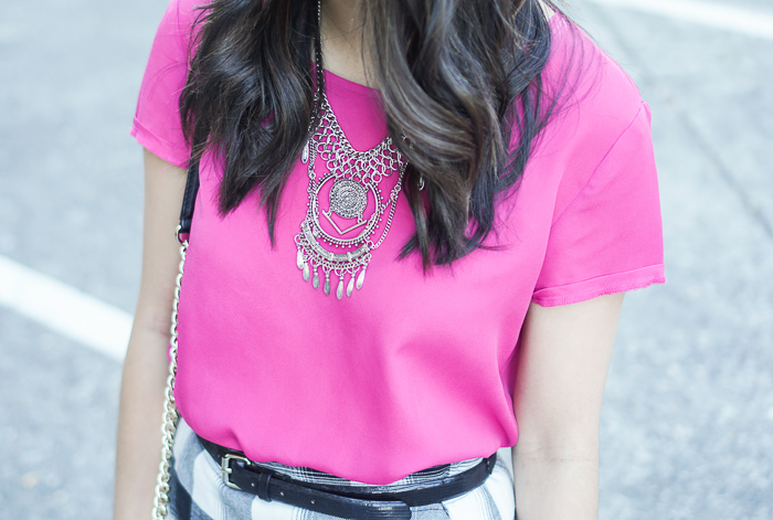 wayf pink top, bp nordstrom dreamcatcher statement necklace