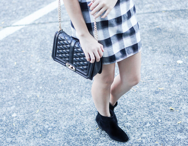 treasure bond plaid skirt, sole society romy bootie, rebecca minkoff love crossbody