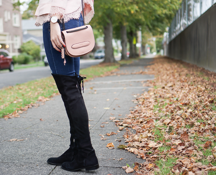 dolce vita neely over the knee boots, coach shadow crossbody
