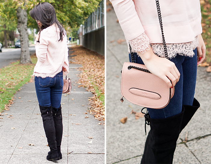 dolce vita neely over the knee boots, wayf lace trim envelope back blouse blush top, coach shadow crossbody
