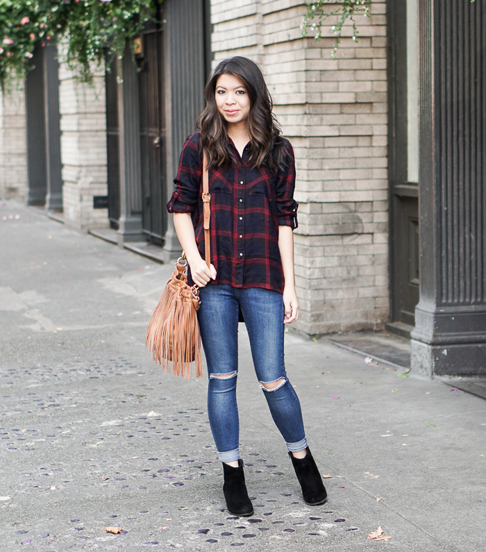 new look plaid shirt, topshop ripped jeans, sole society romy suede booties, fringe bucket bag