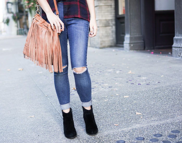 topshop ripped jeans, sole society romy suede booties, fringe bucket bag