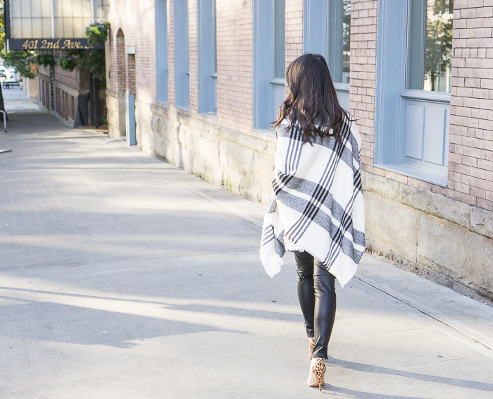 nordstrom bp plaid poncho, faux leather leggings, fall outfit