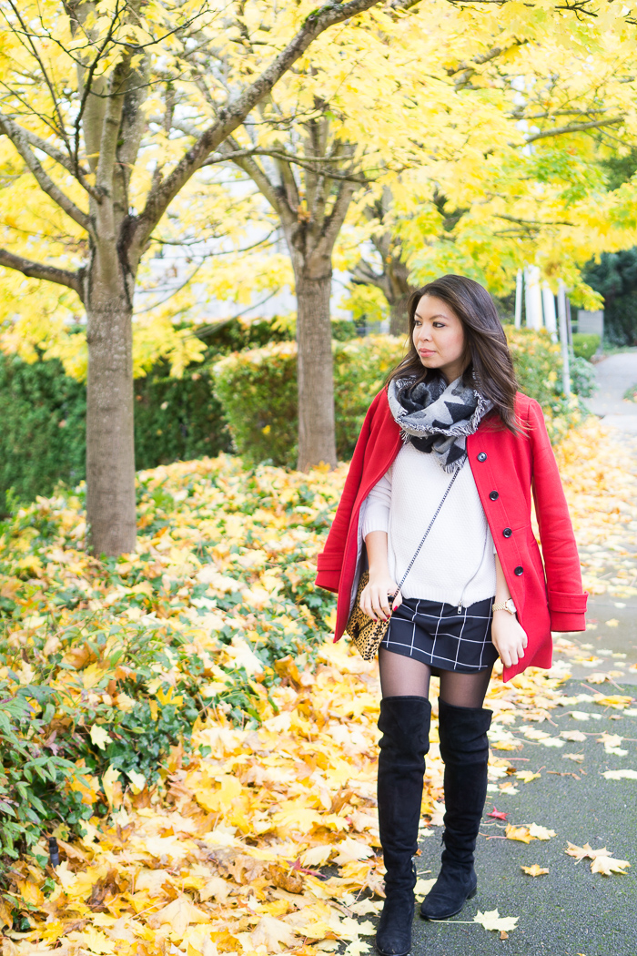 justatinabit-red-coat-check-skirt-dolce-vita-neeley-over-the-knee-boots-bp-geometric-blanket-scarf-fall-outfit-3