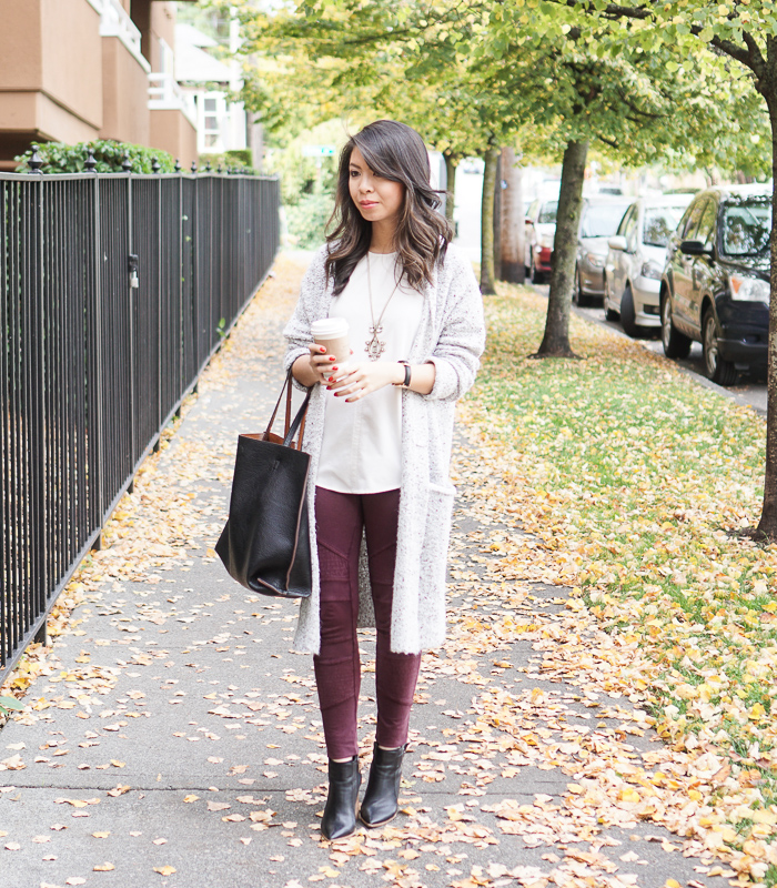 sweater dress with leggings and booties