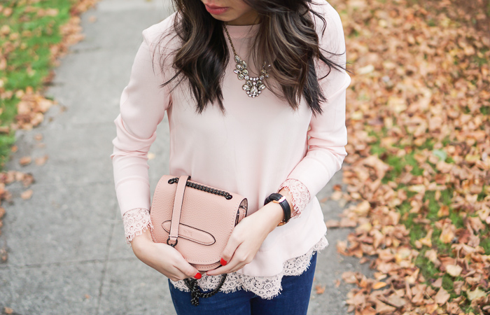 wayf lace trim envelope back blouse blush top, coach shadow crossbody