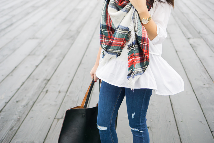 asos plaid blanket scarf, chicwish white dolly hi low top