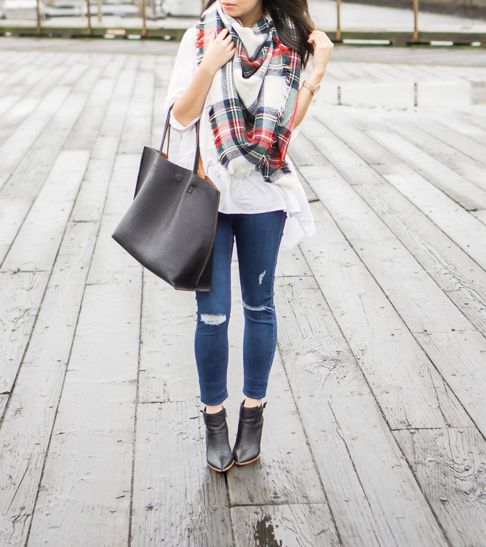 185cf686f97 justatinabit-asos-oversized-square-scarf-plaid-blanket-scarf-topshop-jamie- high-rise-ripped-jeans-chicwish-white-dolly-hi-low-top-steve-madden-klick- booties ...
