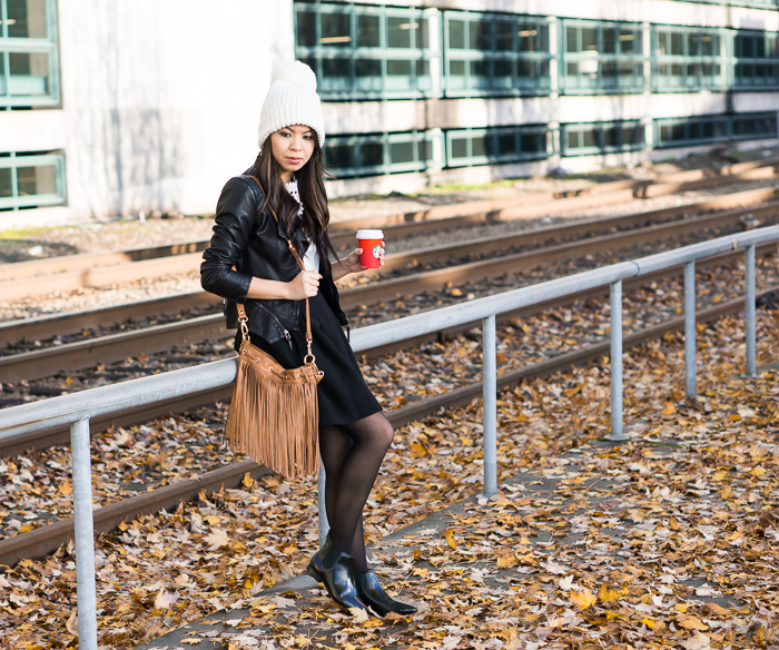 chic fall outfit idea, blanknyc faux leather jacket, black full skirt, shein floral crochet t shirt, uniqlo pom pom beanie