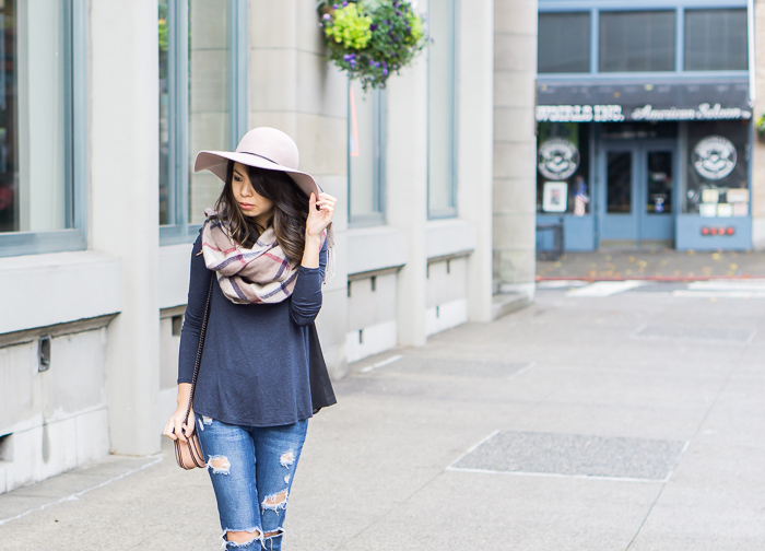 casual fall outfit, plaid scarf, floppy hat, ripped jeans
