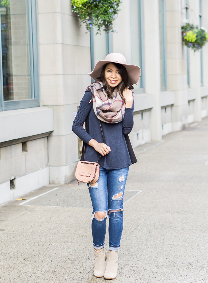 casual fall outfit, toms lunata booties, plaid scarf, floppy hat, ripped jeans