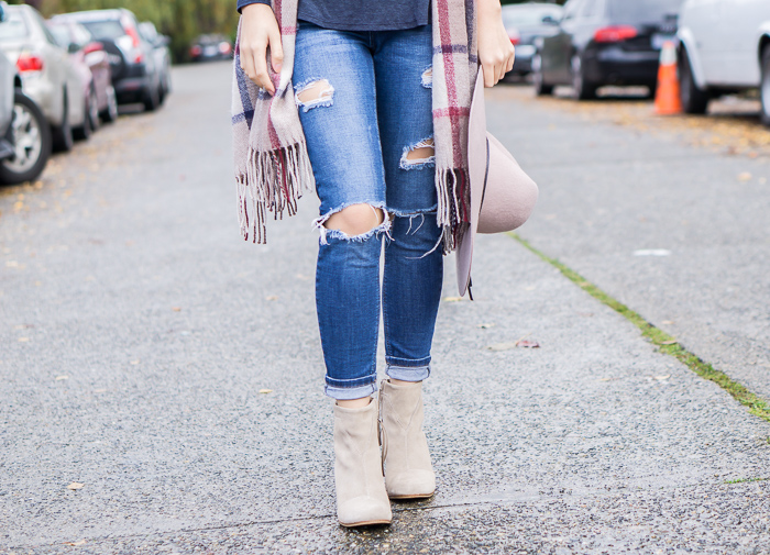 plaid scarf, ripped jeans
