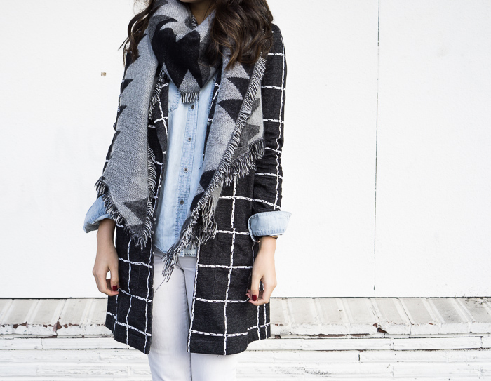 chicwish plaid check longline blazer long jacket, nordstrom bp geometric blanket scarf, fall-outfit