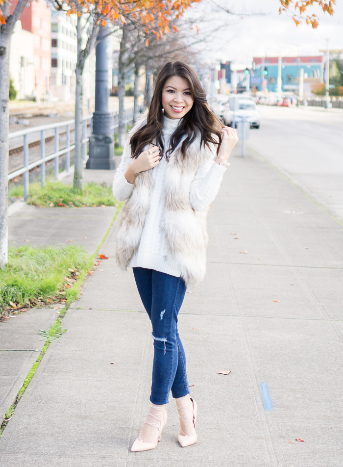 fall outfit, striped faux fur vest, cable knit sweater, lace up heels
