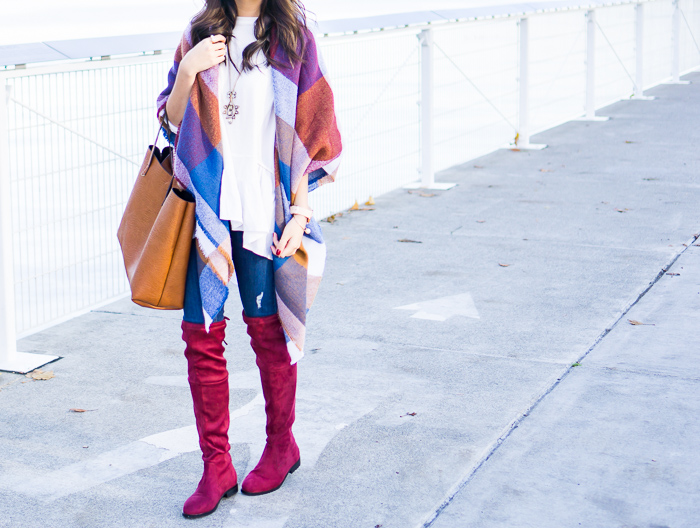 2015 black friday sales, blanket scarf in 70s check, burgundy over the knee boots