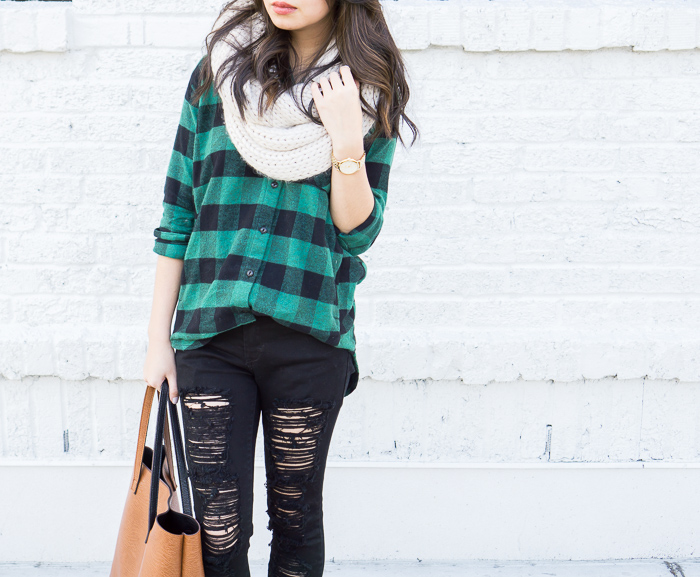 plaid shirt, skinny ripped jeans, infinity scarf, casual fall outfit