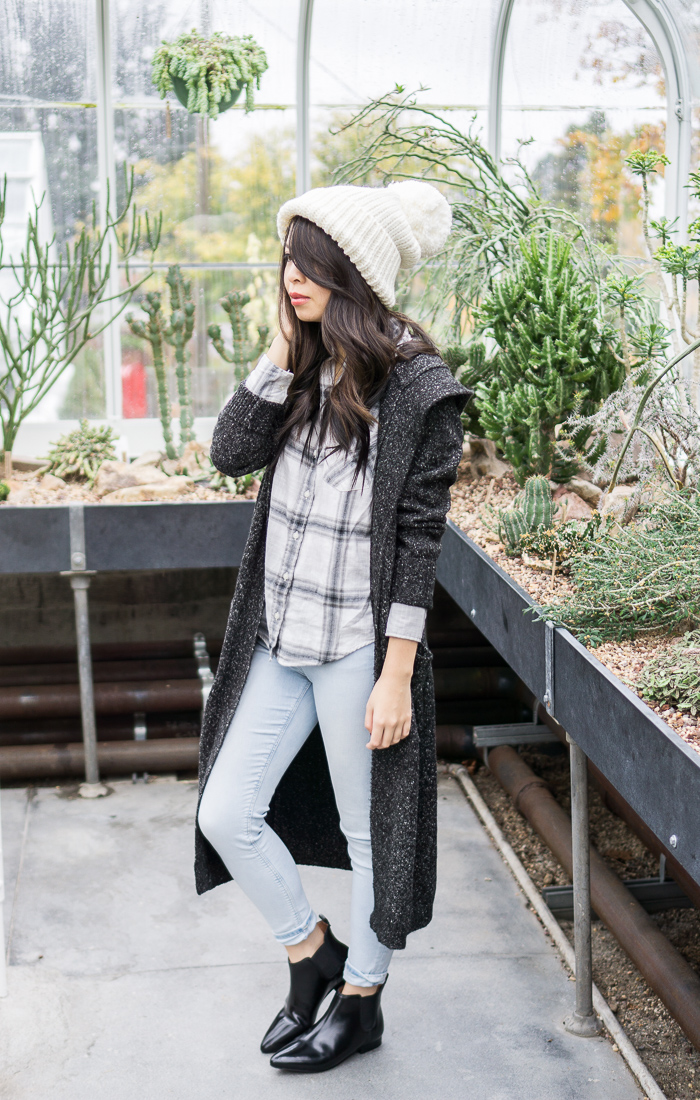 2015 cyber monday sales, rainy day outfit, long cardigan, pom pom beanie, plaid shirt
