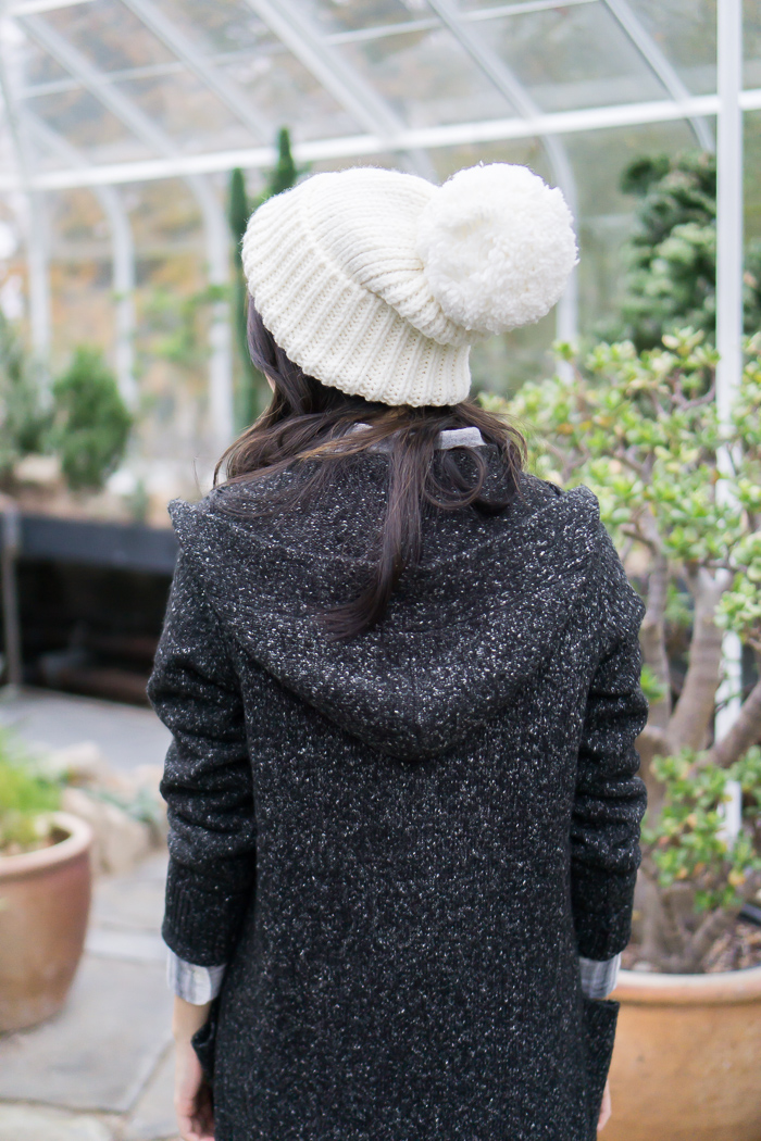 rainy day outfit, long cardigan, pom pom beanie