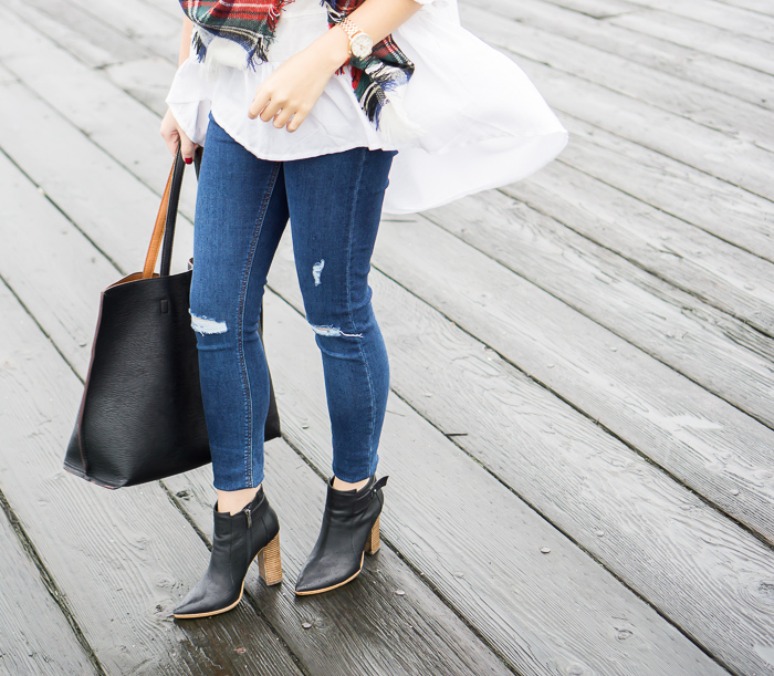 topshop jamie high rise ripped jeans, steve madden klick booties, street level reversible tote