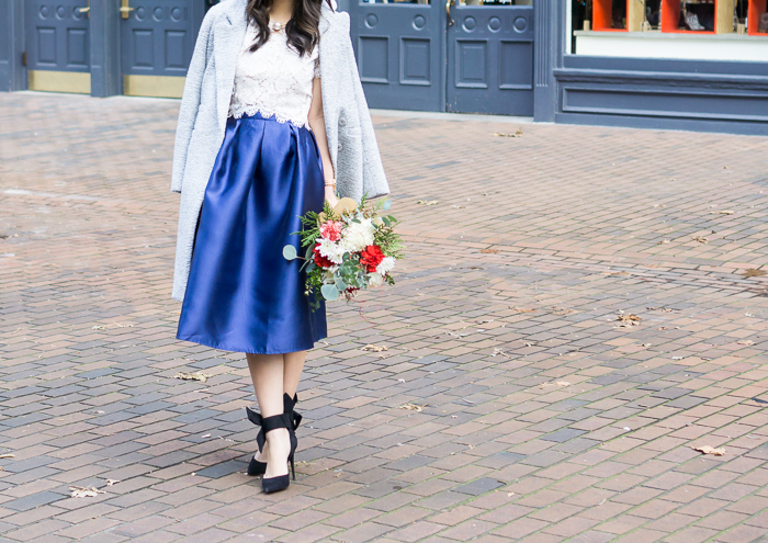 blue midi skirt, lucy paris bradshaw lace crop top, bow shoes, chicwish tweed coat, holiday outfit