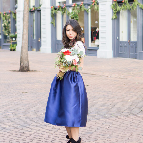 blue midi skirt, lucy paris bradshaw lace crop top, bow shoes, holiday outfit