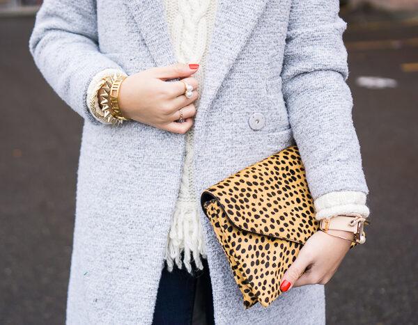 chicwish tweed coat, banana republic fringe hem cable knit sweater, loeffler randall lock clutch, fall outfit