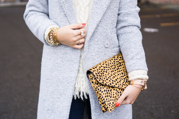 chicwish tweed coat, banana republic fringe hem cable knit sweater, loeffler randall lock clutch, fall outfit