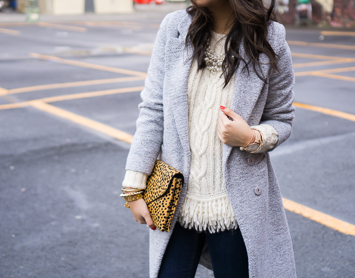 chicwish tweed coat, banana republic fringe hem cable knit sweater, fall outfit