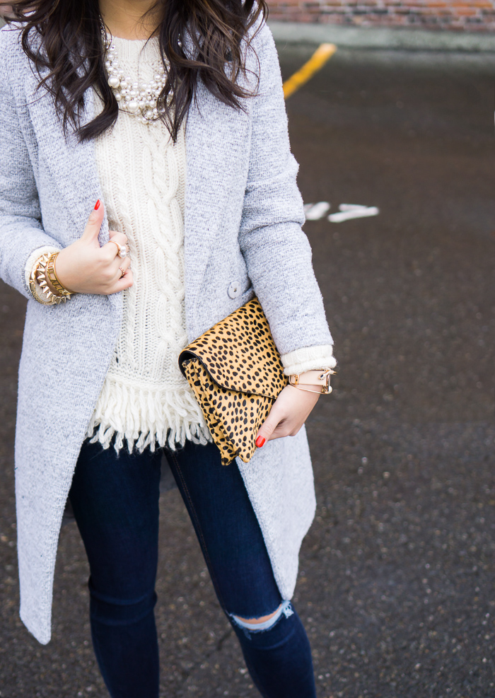 chicwish tweed coat, banana republic fringe hem cable knit sweater, topshop skinny ripped jeans, fall outfit
