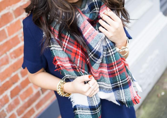 multi plaid blanket scarf