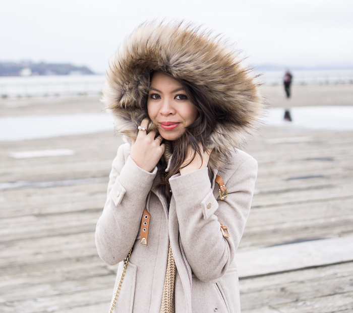 parka fur hood coat, casual winter outfit