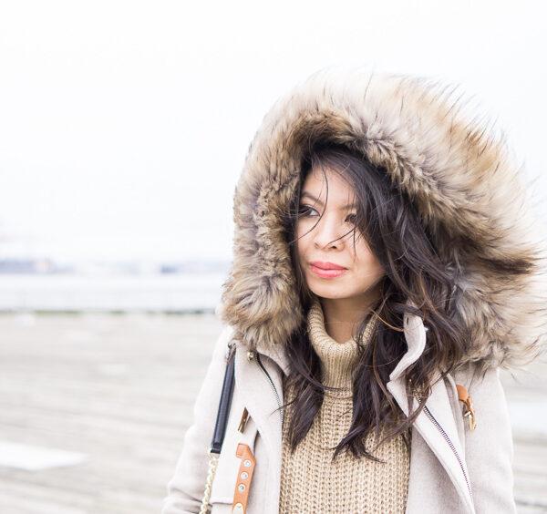 parka fur hood coat, casual winter outfit