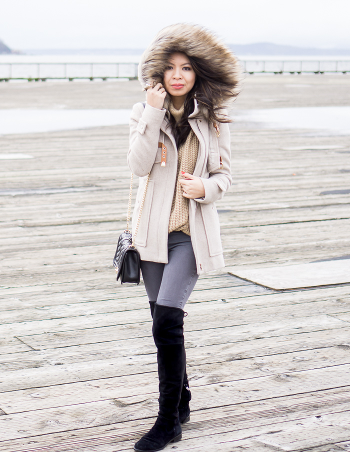 parka fur hood coat, leith turtleneck sweater, dolce vita neely over the knee boots, casual winter outfit