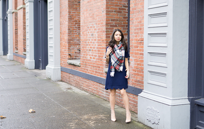 scallop dress, multi plaid blanket scarf, lace up pumps