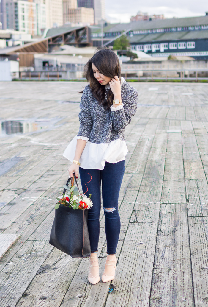 sheinside grey white color block ruffle blouse, layered look sweater, topshop skinny ripped jeans, lace up pumps, street level reversible vegan leather tote