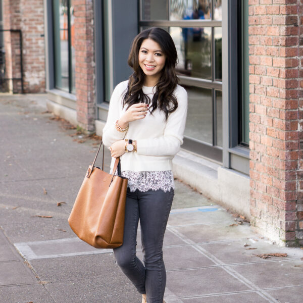 club monaco jessaray lace hem sweater outfit, halogen studded pointy flats