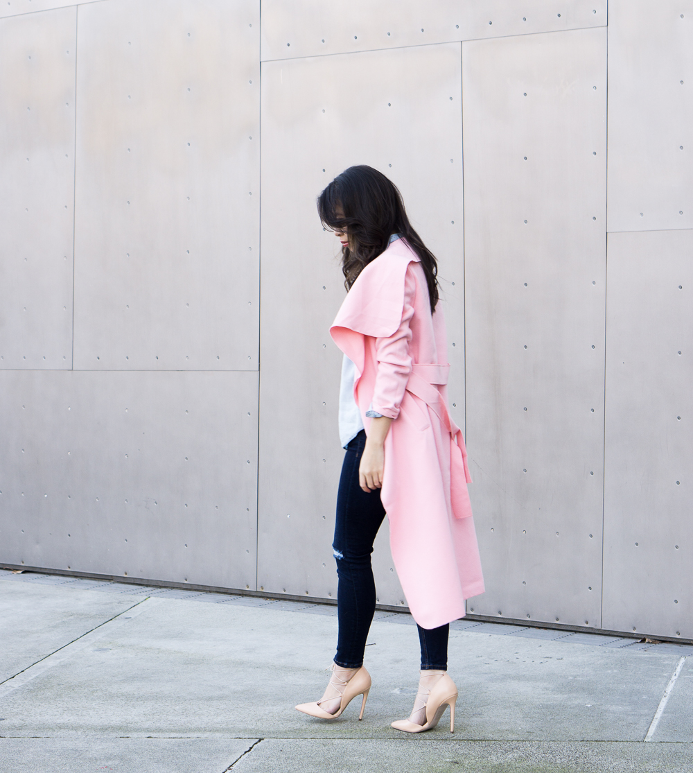 pink coat outfit, skinny jeans, lace up heels