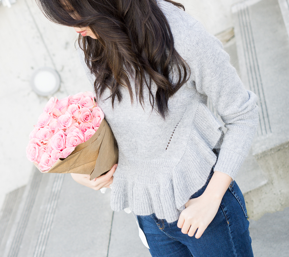 ruffle sweater, chicwish frilling hemline sweater