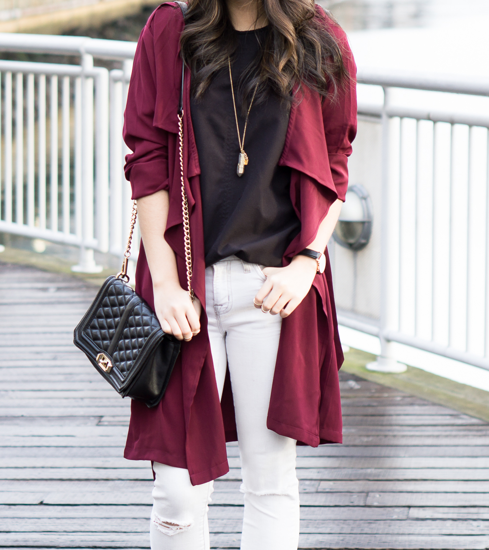 shein burgundy trench coat, street style, casual outfit