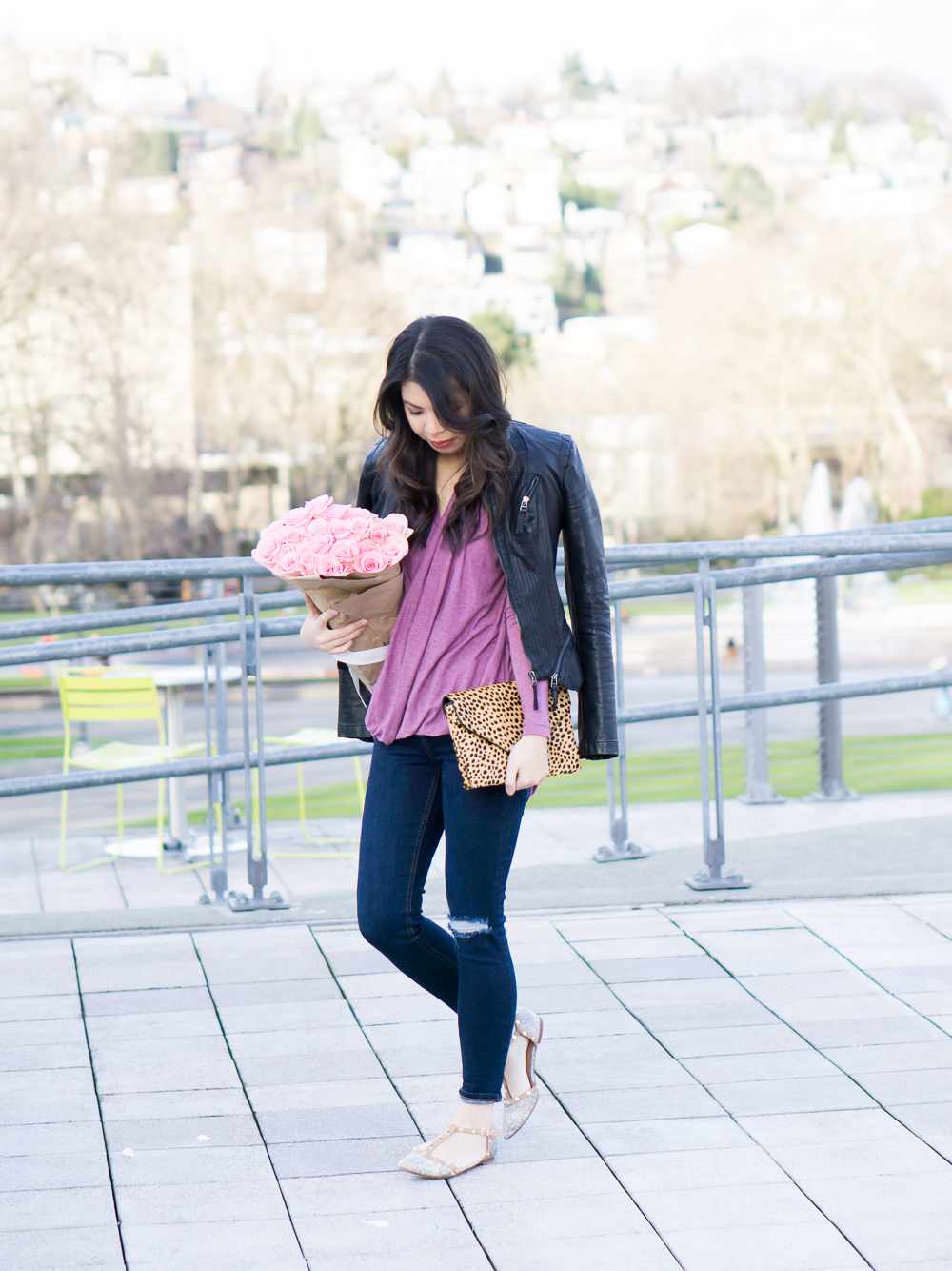drape top, halogen studded flats, leather jacket casual outfit
