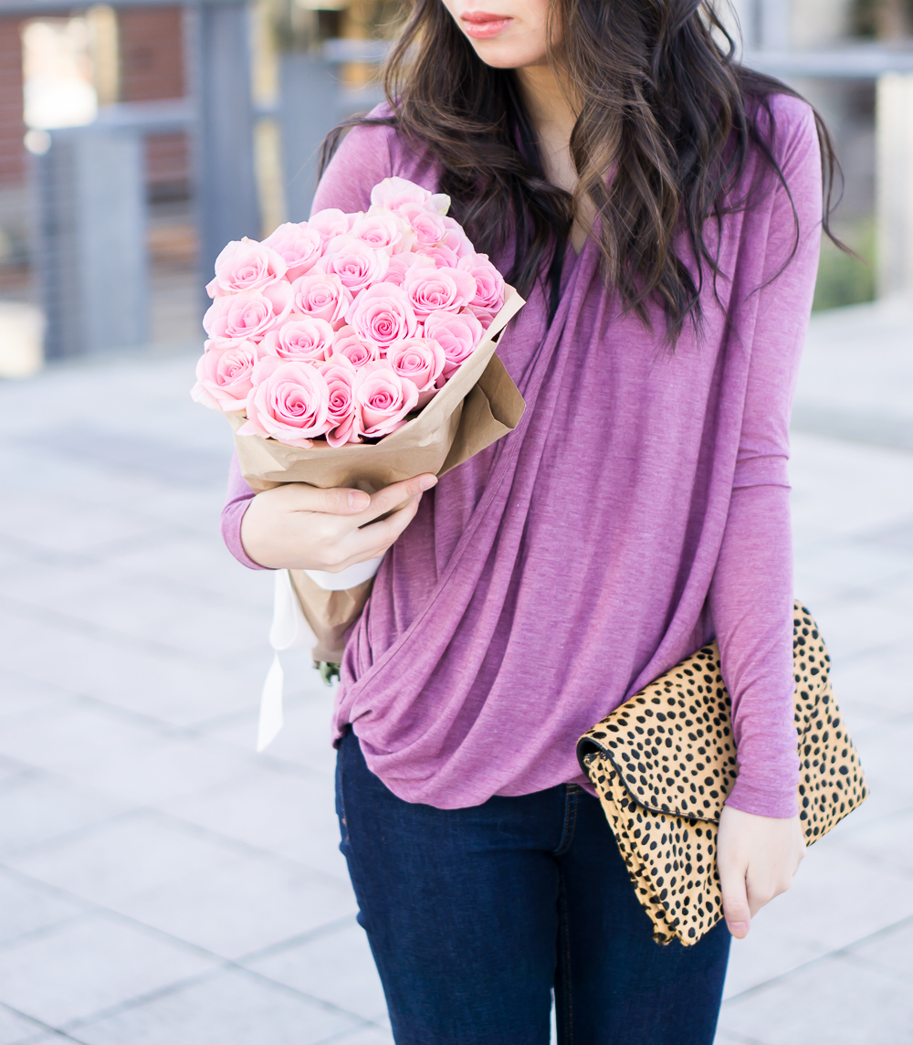 drape top, loeffler randall lock clutch, casual outfit