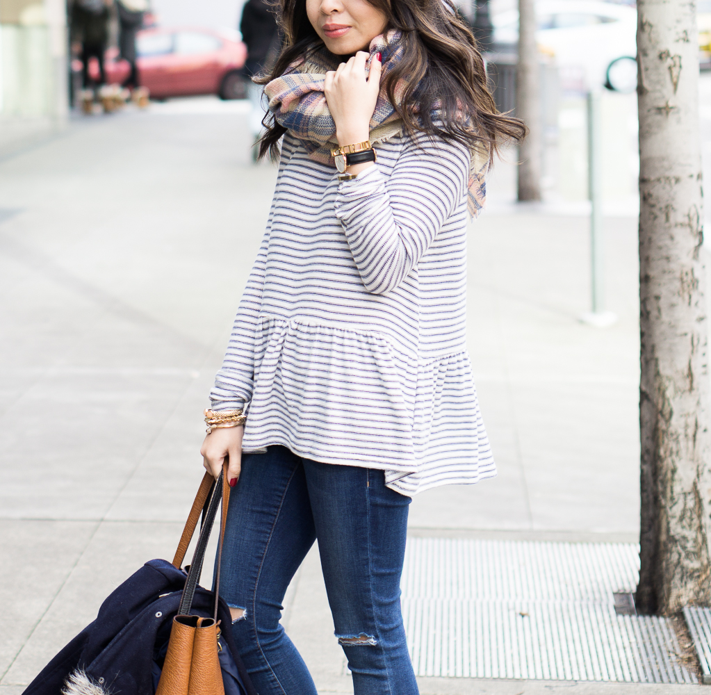 new look stripe peplum top casual outfit idea