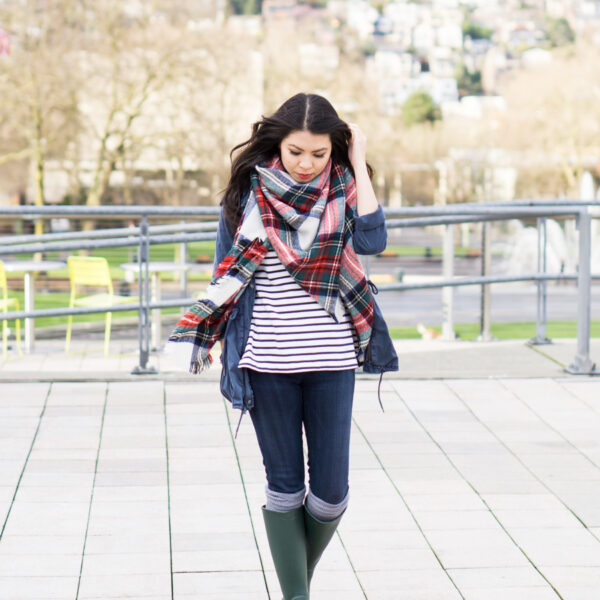 rain boots outfit, asos oversized square scarf in white based check