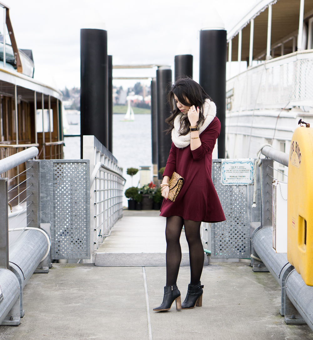burgundy skater dress, infinity cable knit scarf, casual outfit