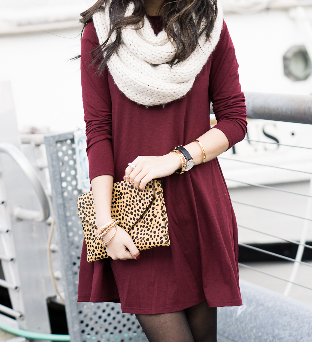 Burgundy Skater Dress Just A Tina Bit