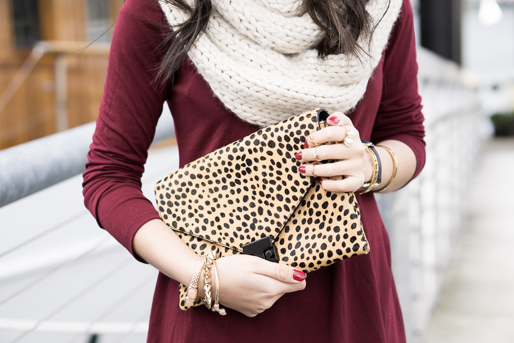 burgundy skater dress, infinity cable knit scarf, cheetah print clutch, casual outfit